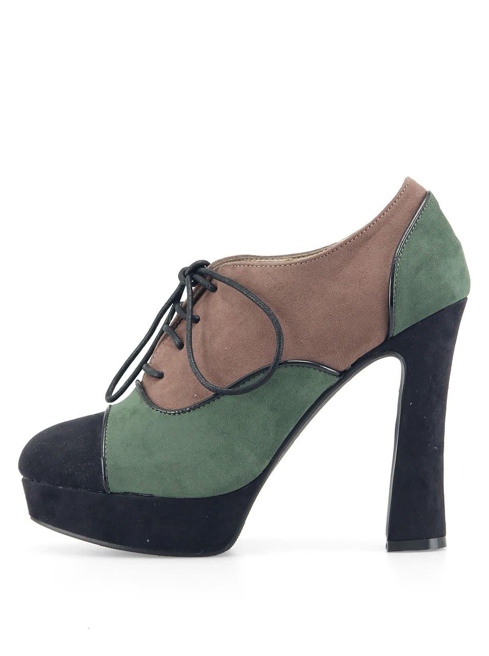 Kotníčkové zelené boty Victoria Delef na vysokém podpatku