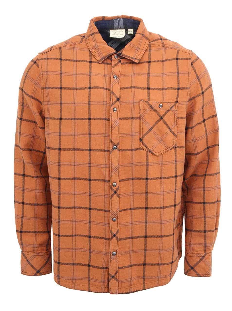 Oranžová pánská kostkovaná košile Jeremiah