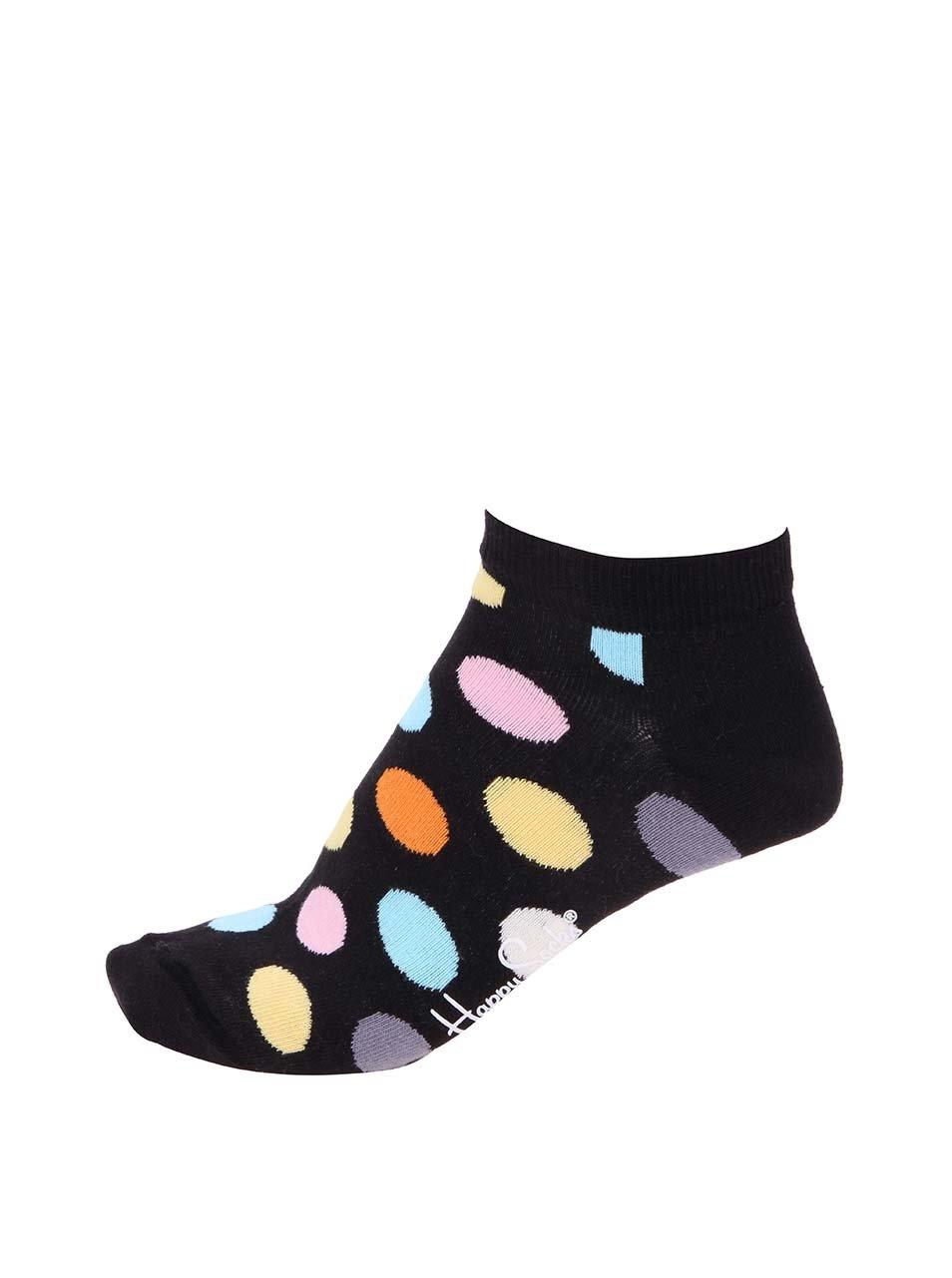 Černé kotníkové unisex ponožky s barevnými puntíky Happy Socks