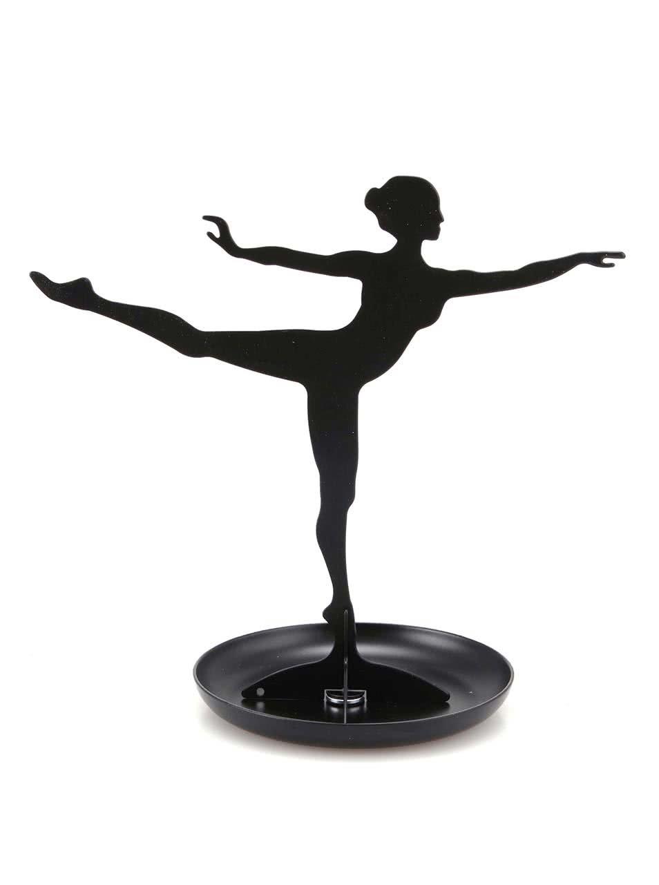Stojan na šperky ve tvaru baletky v černé barvě Kikkerland Ballerina