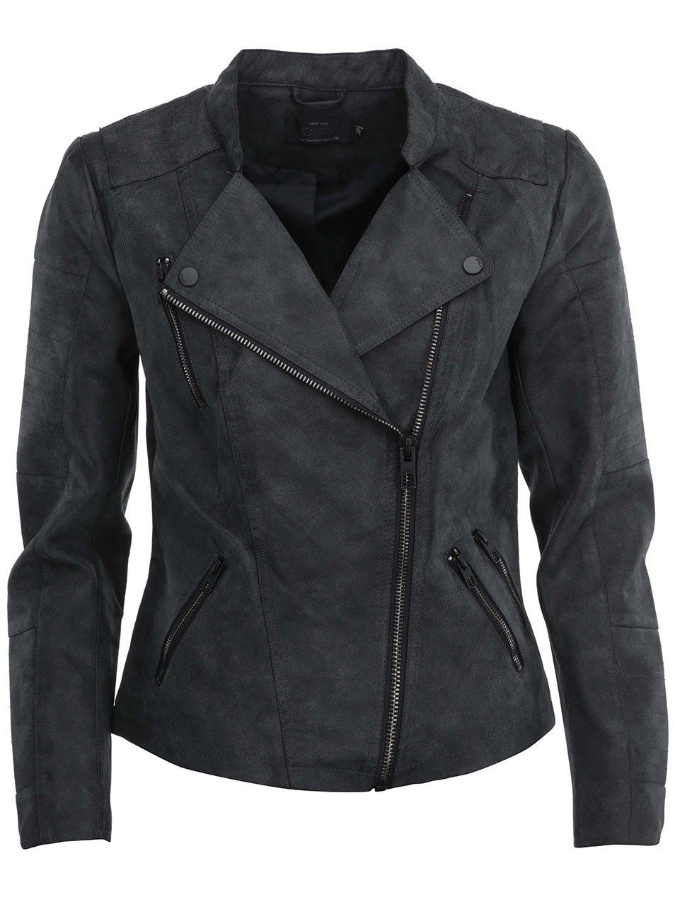 Tmavosivá koženková bunda s vreckami ONLY Biker 3d144de3c36