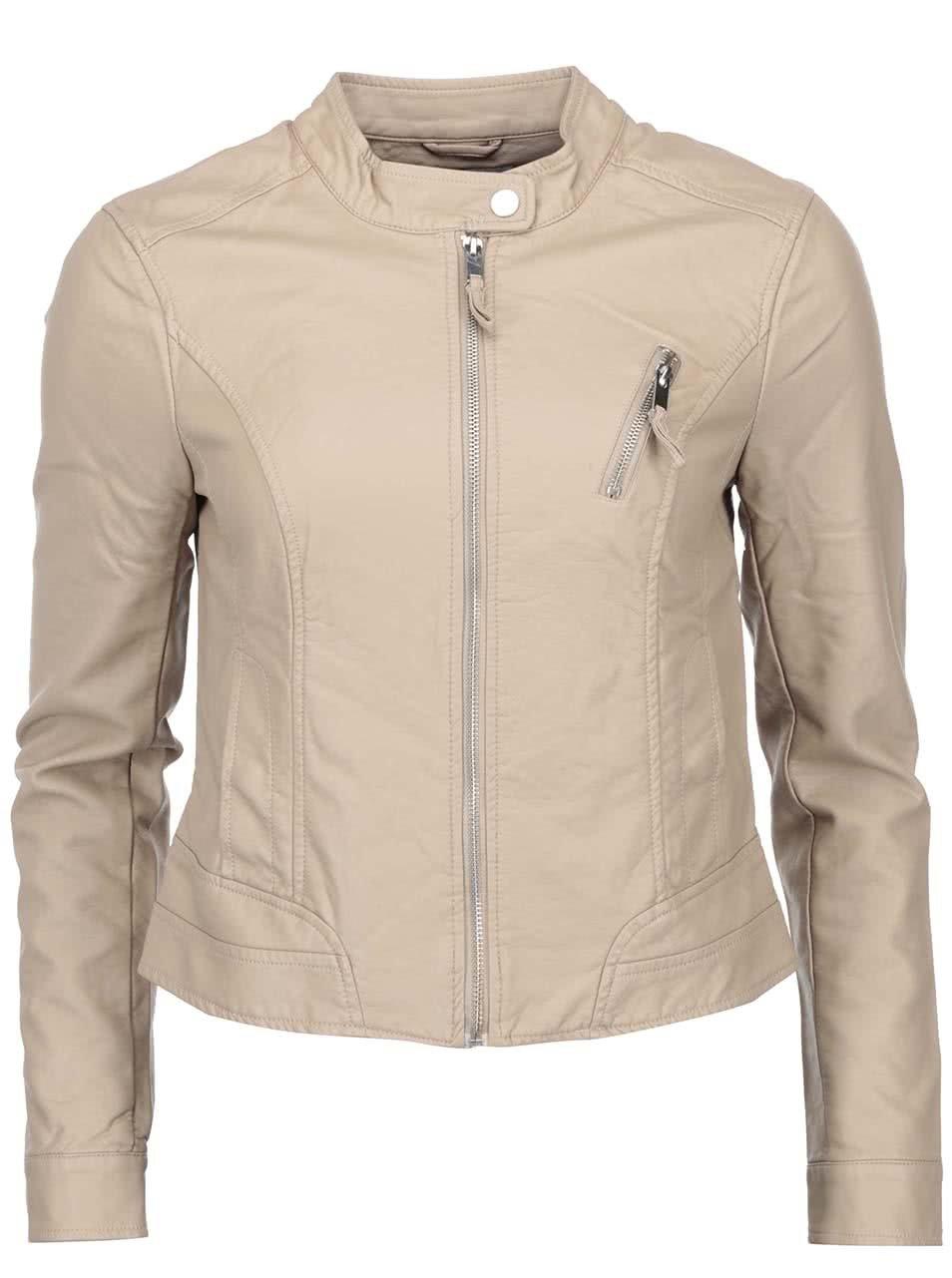 Béžová koženková bunda Vero Moda Irina