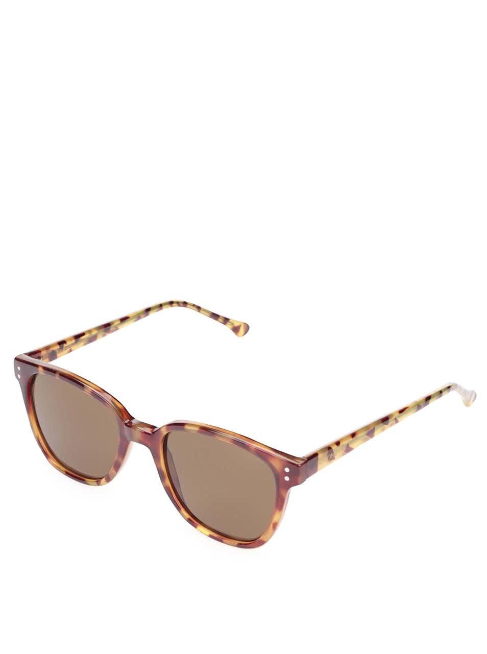 Hnědé dámské sluneční brýle s vzorovanými obroučkami Komono Renee