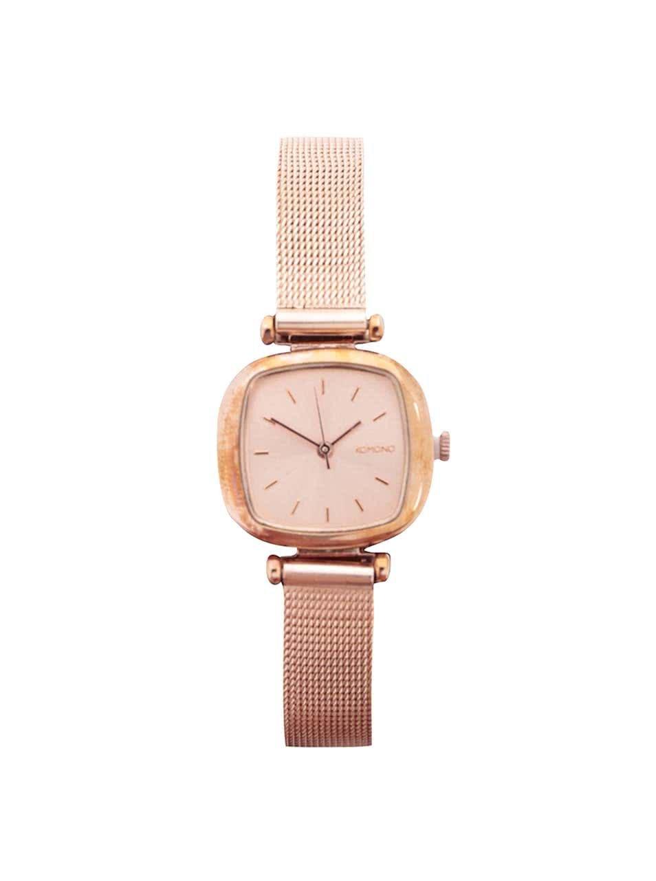 Dámské hodinky v růžovozlaté barvě s nerezovým páskem Komono Moneypenny Royale