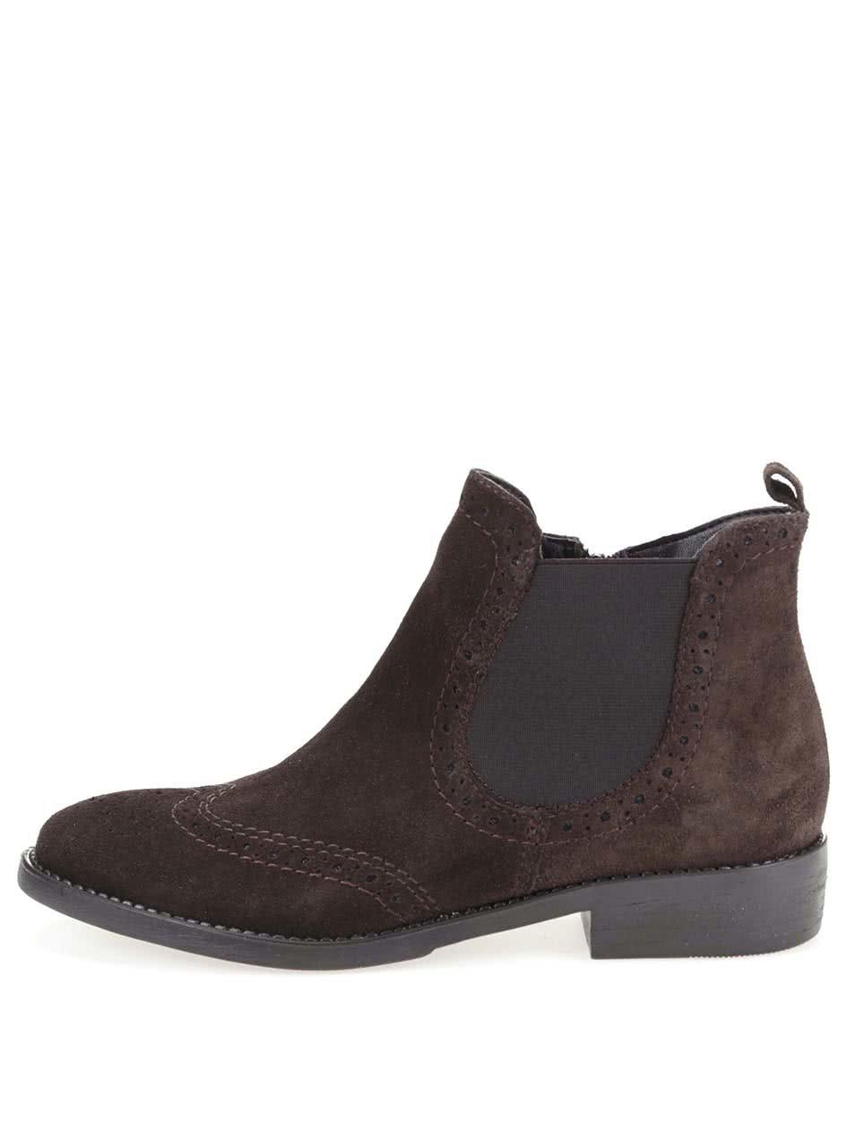 Tmavě hnědé kožené kotníkové brogue boty Tamaris
