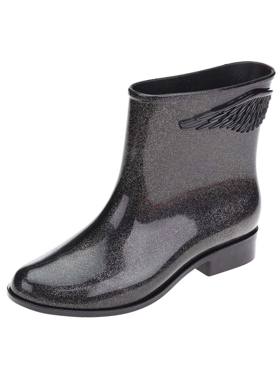 Stříbrno-černé nízké holínky s křídly Mel Goji Berry II