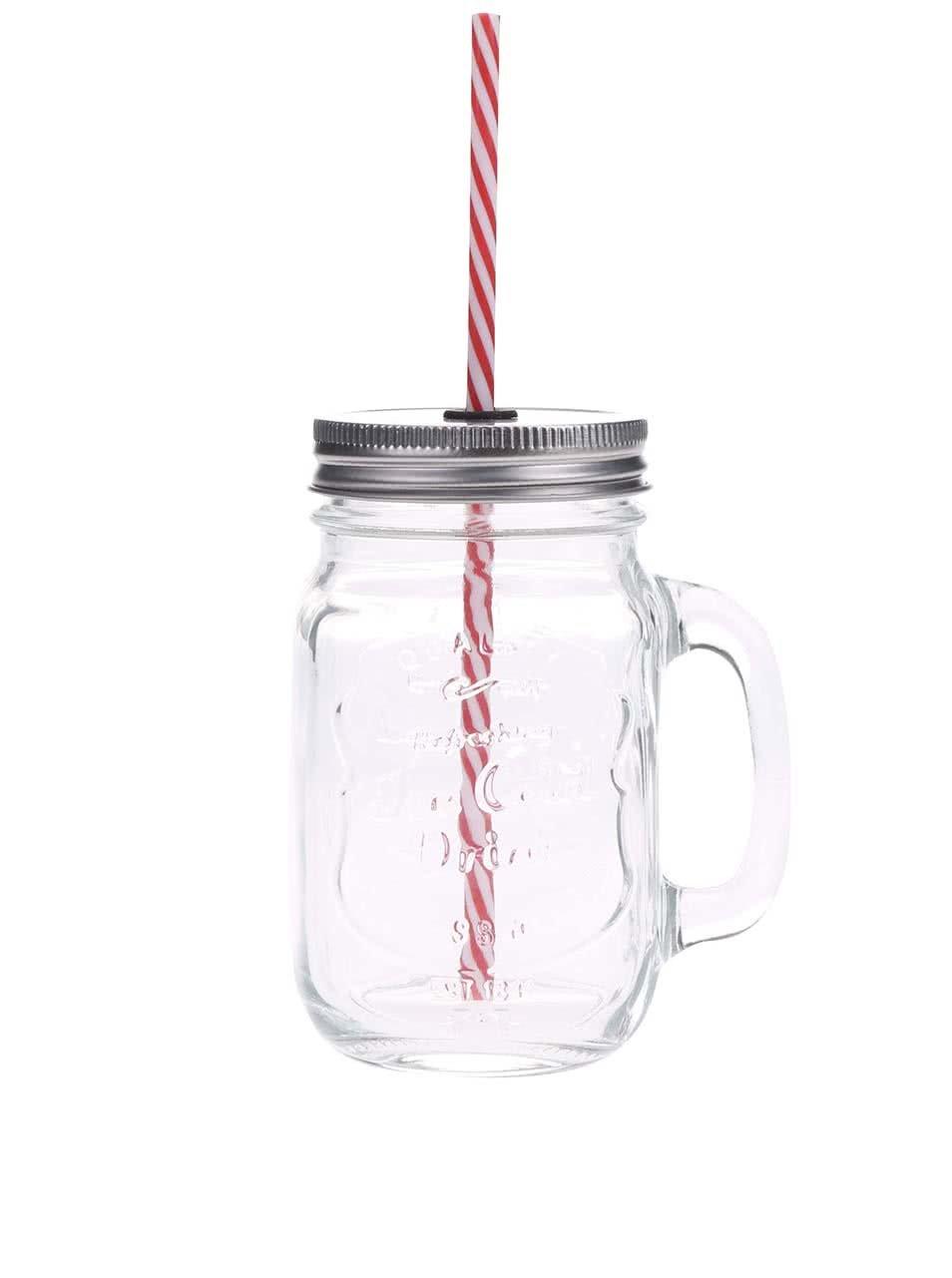 Čirá uzavíratelná sklenice s červeným brčkem Kitchen Craft