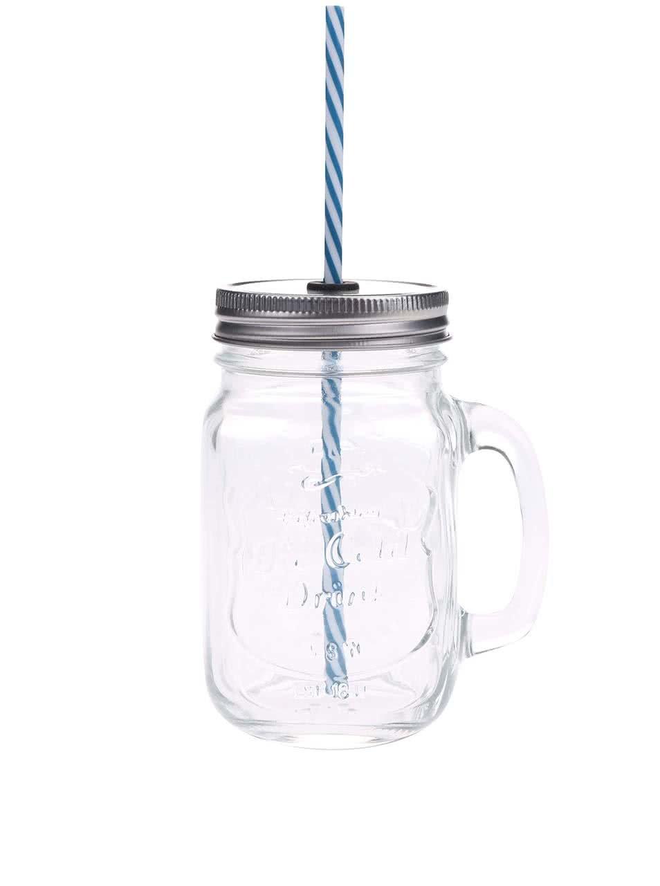 Čirá uzavíratelná sklenice s modrým brčkem Kitchen Craft
