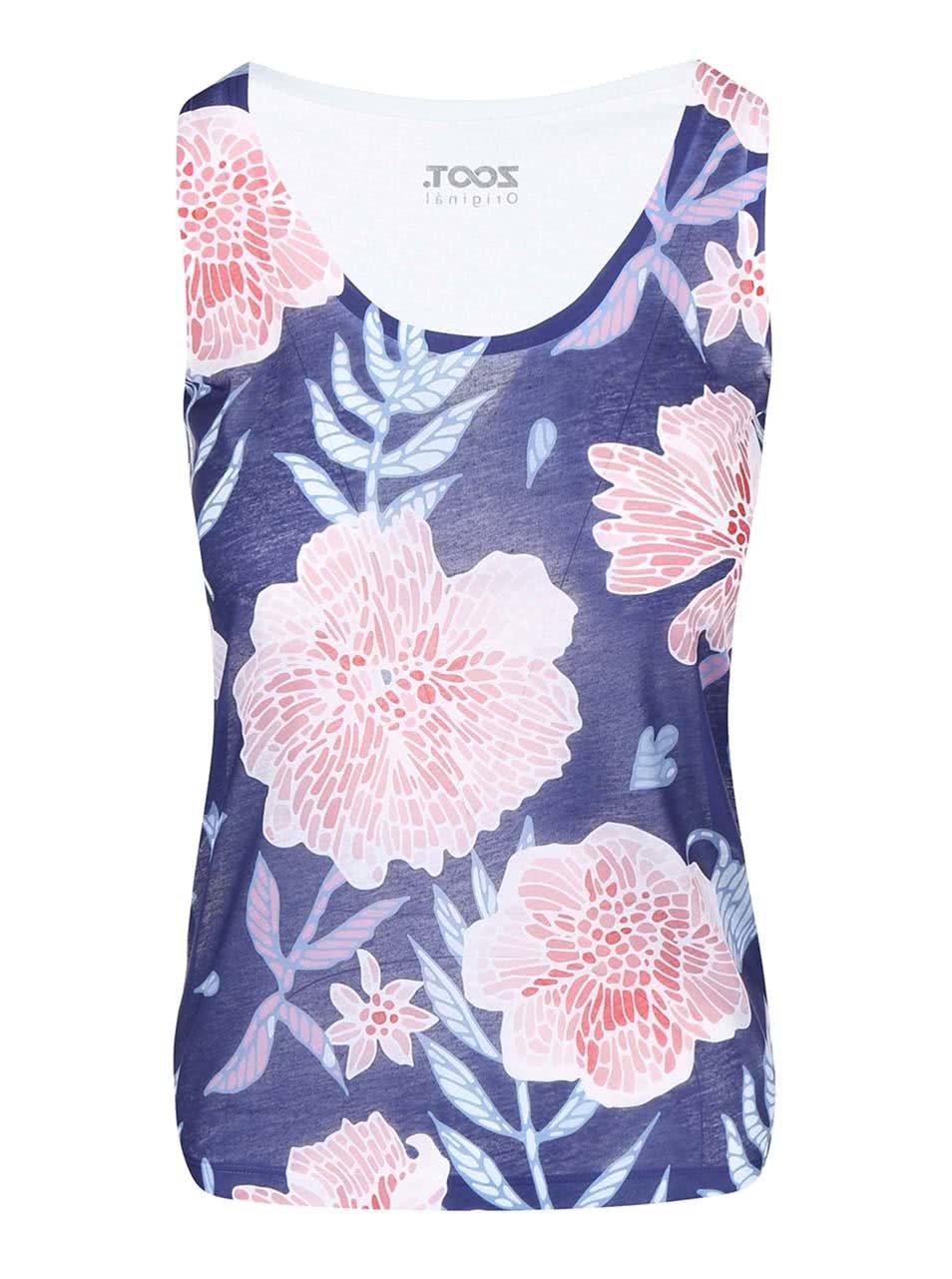 Modré dámské tílko s růžovými květy ZOOT Originál Květiny