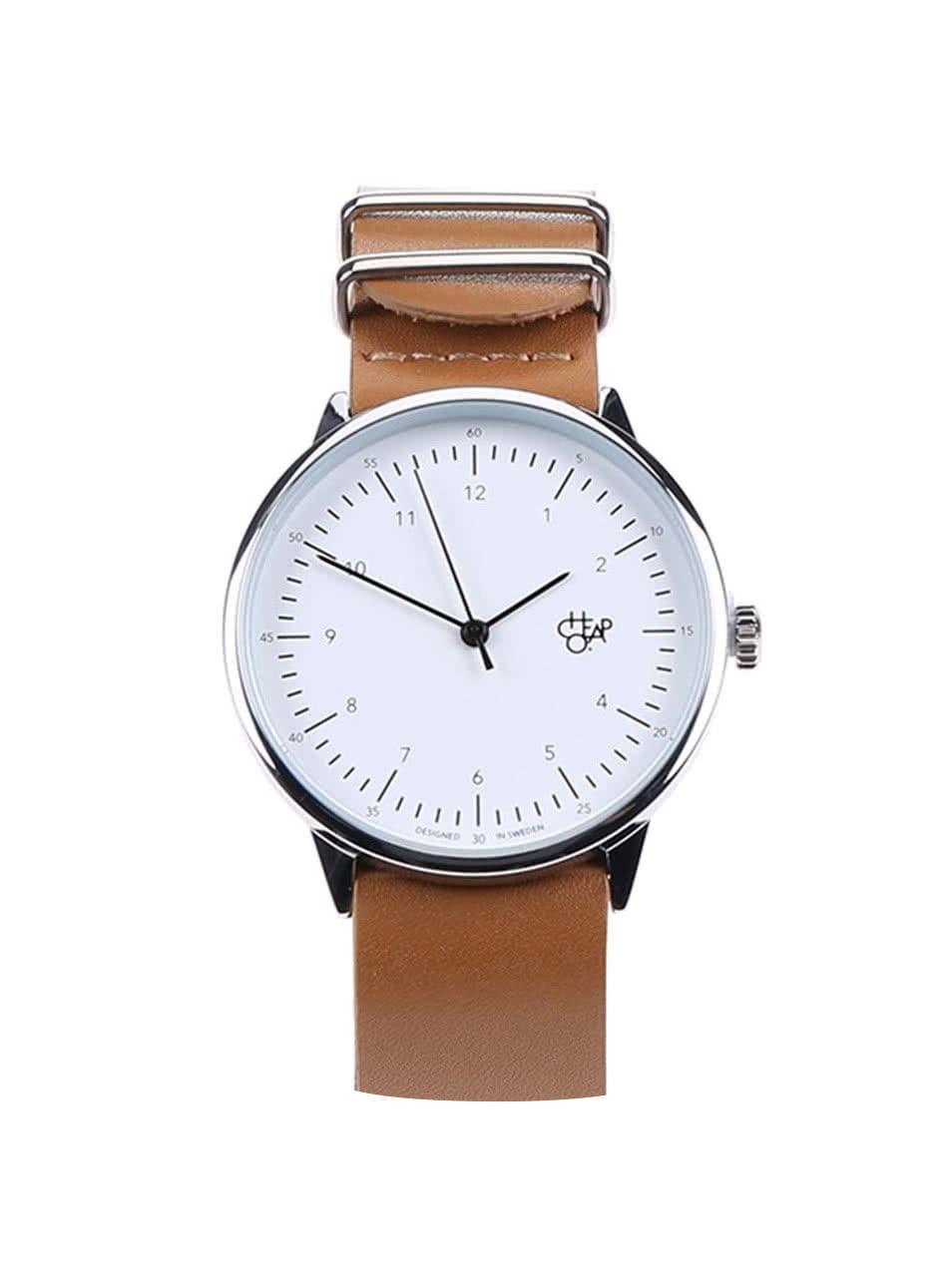 Hnědé unisex hodinky s koženým páskem Cheapo Harold