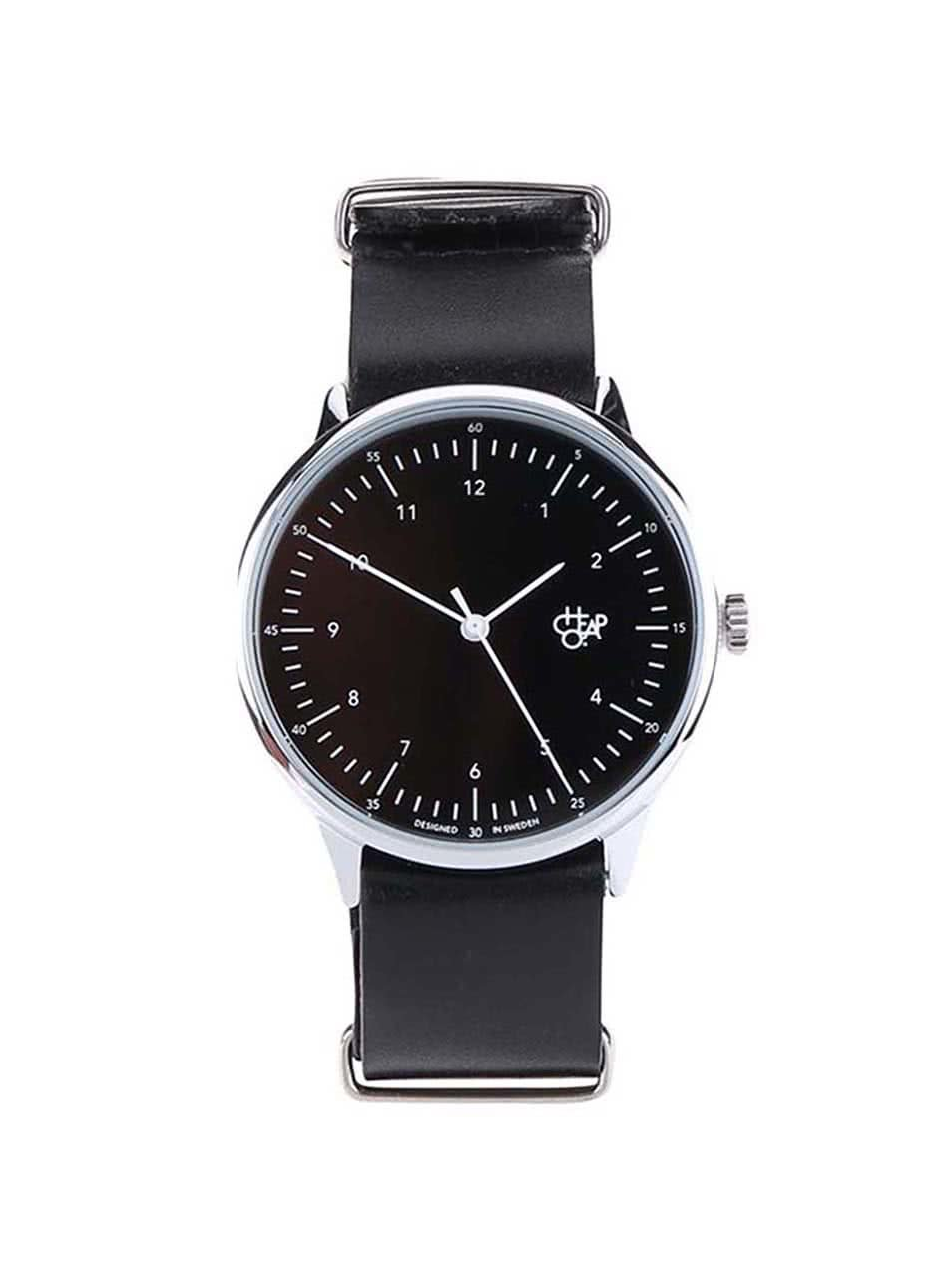 Černé unisex hodinky s koženým páskem Cheapo Harold