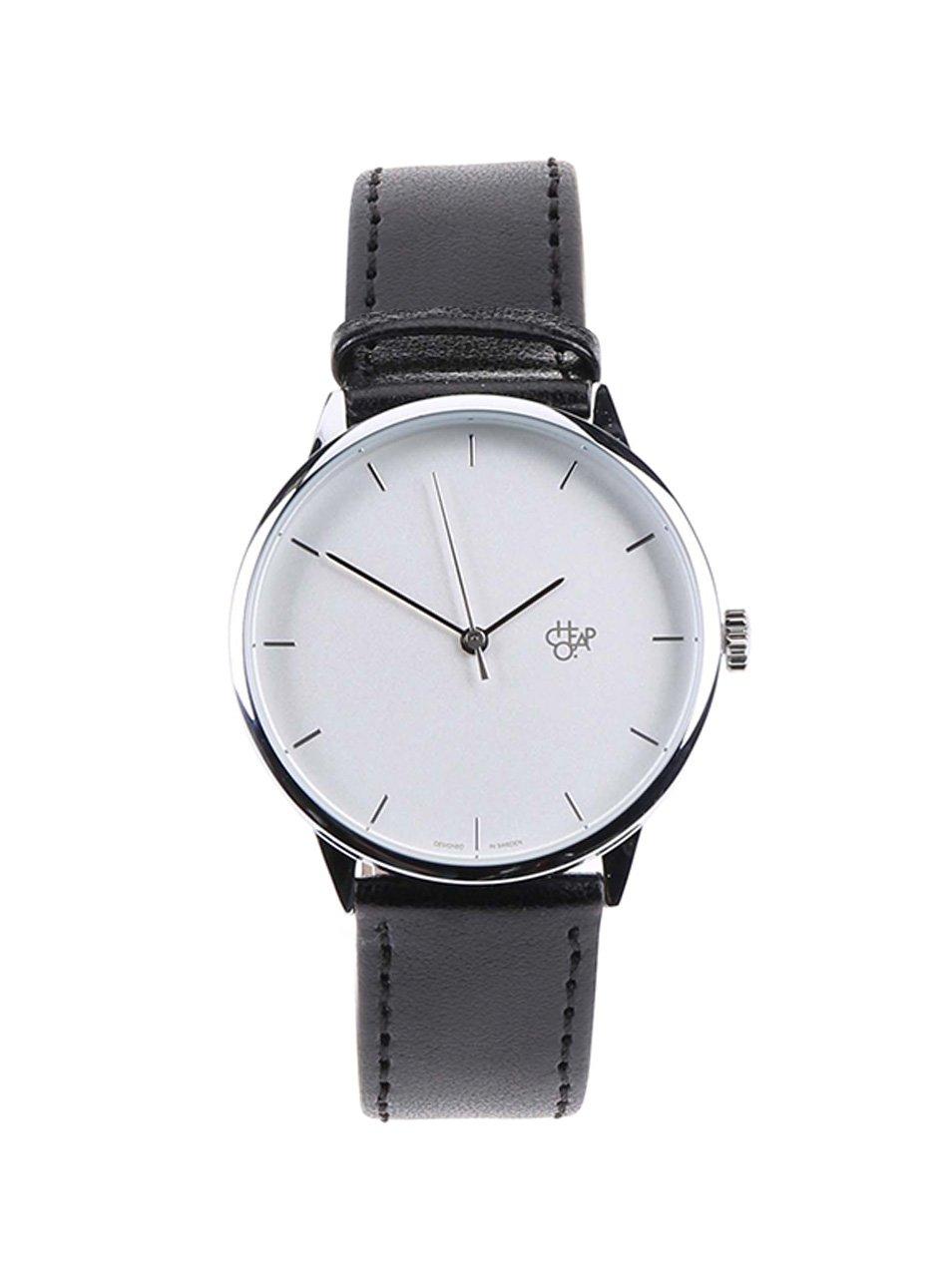 Unisex hodinky ve stříbrné barvě s černým koženkovým páskem Cheapo Khorshid Silver