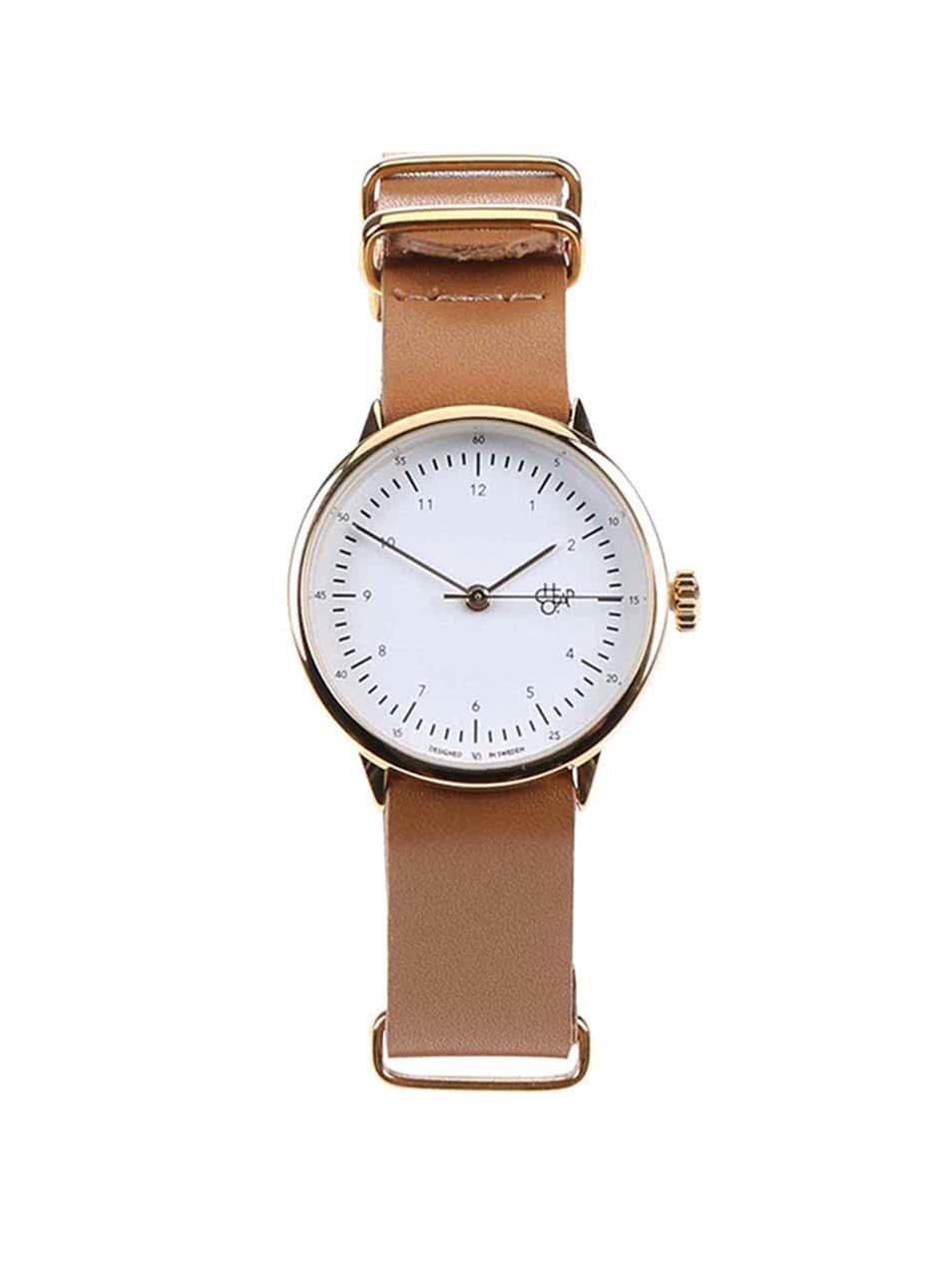 Dámské hodinky ve zlaté barvě s hnědým koženým páskem Cheapo Harold Mini Gold