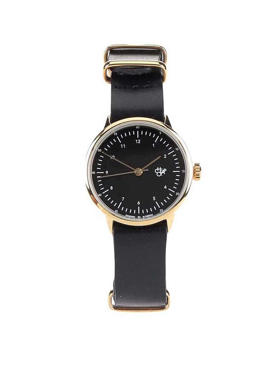 Dámské hodinky ve zlaté barvě s černým koženým páskem Cheapo Harold Mini Gold