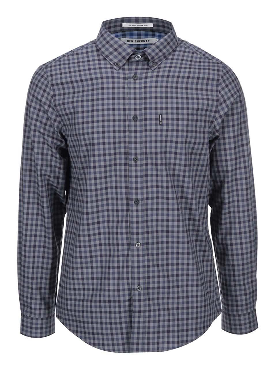 Fialovo-šedá kostkovaná košile Ben Sherman