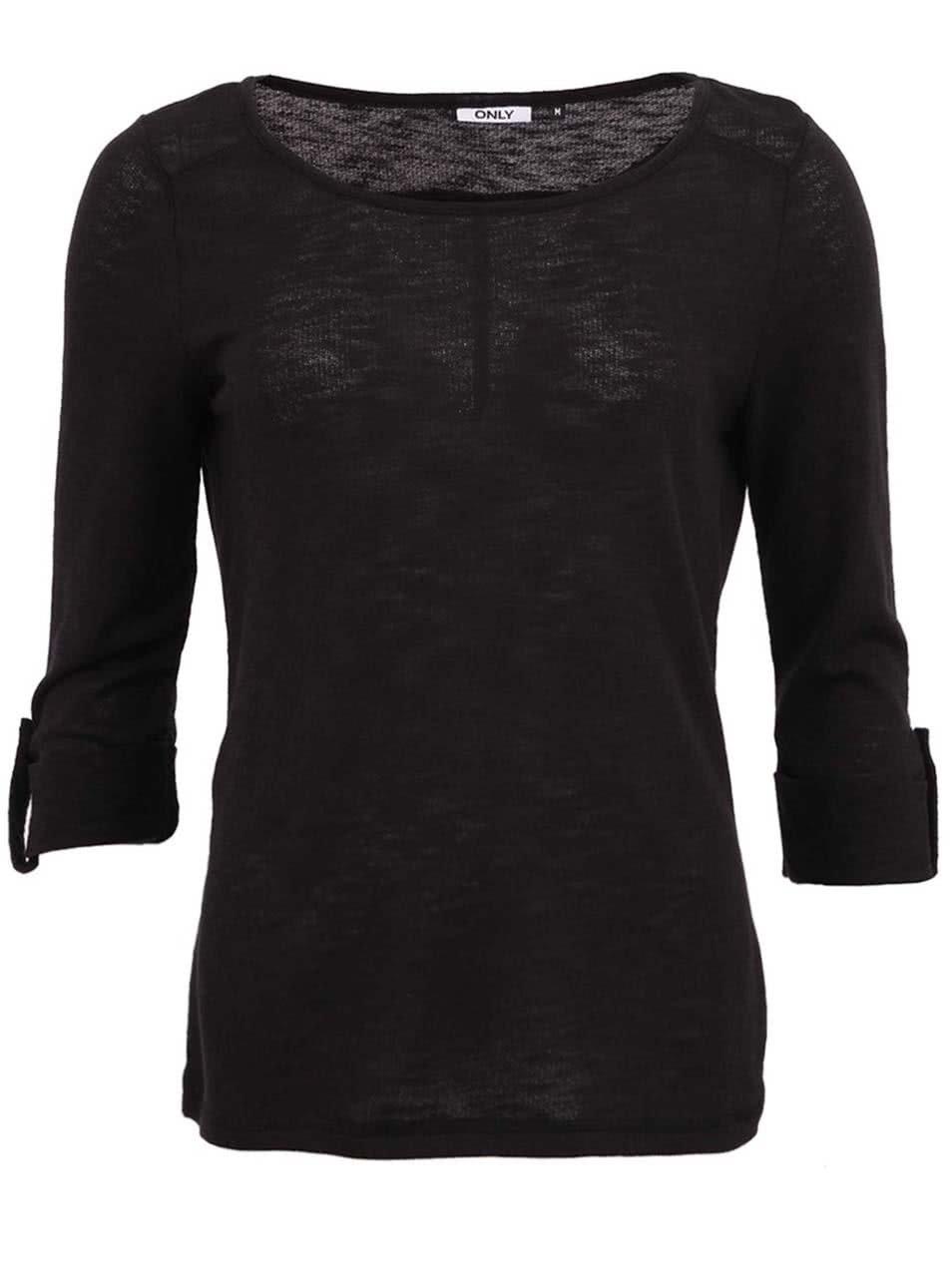 Černé tričko s 3/4 rukávem ONLY Jess