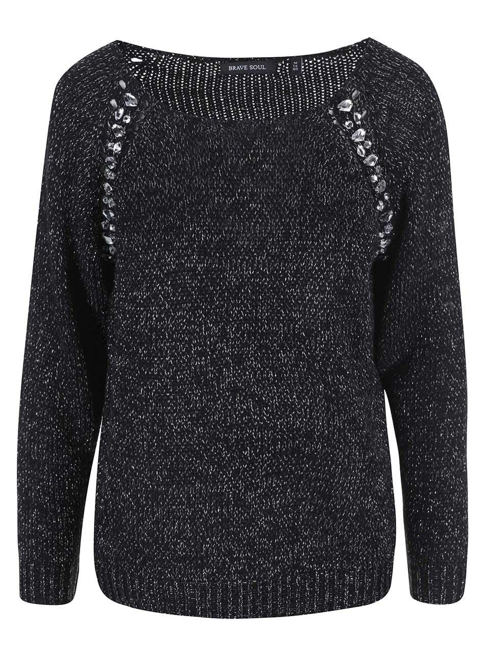 bf3f156b1c6 Černý dámský svetr se stříbrnými detaily Brave Soul Gem