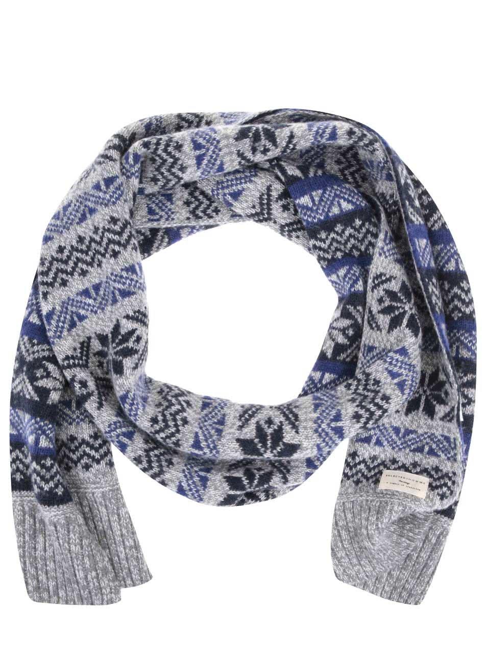 Modro-šedá šála s norskými vzory Selected Elias
