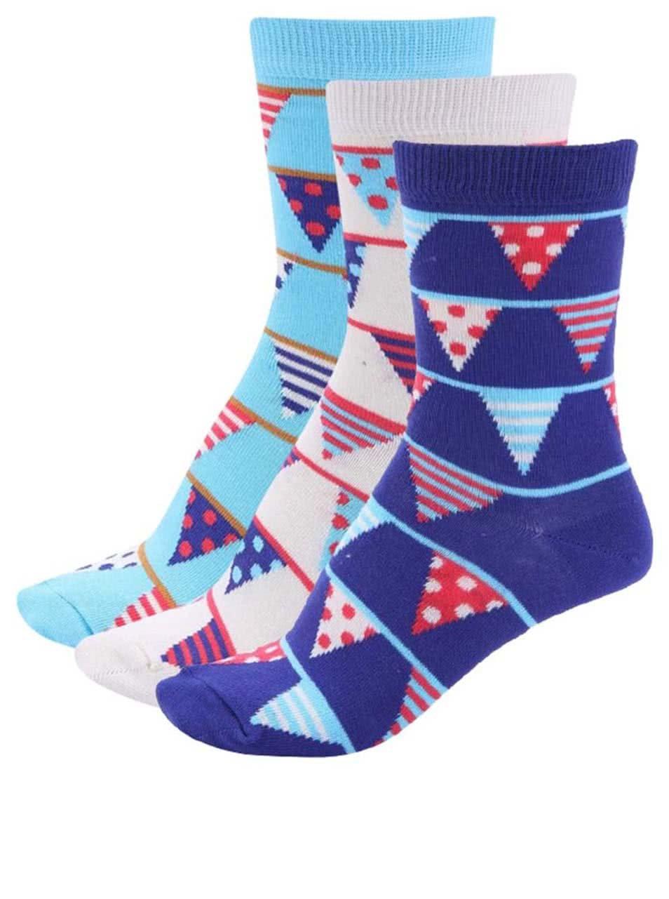 Sada tří dámských narozeninových ponožek v krémové a modré barvě Oddsocks Becky