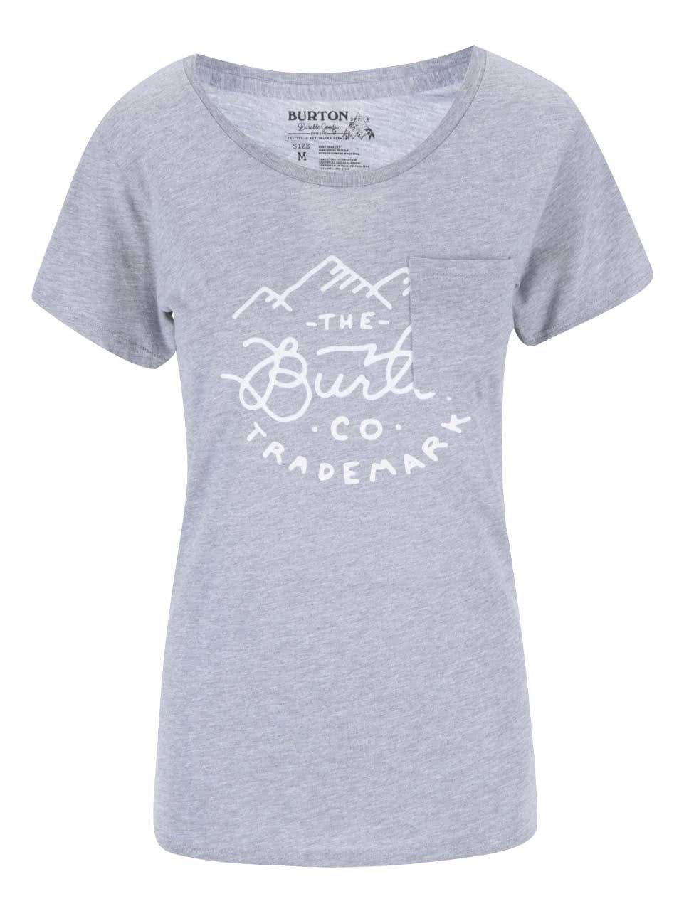 Šedé dámské tričko s potiskem Burton Trdmrk