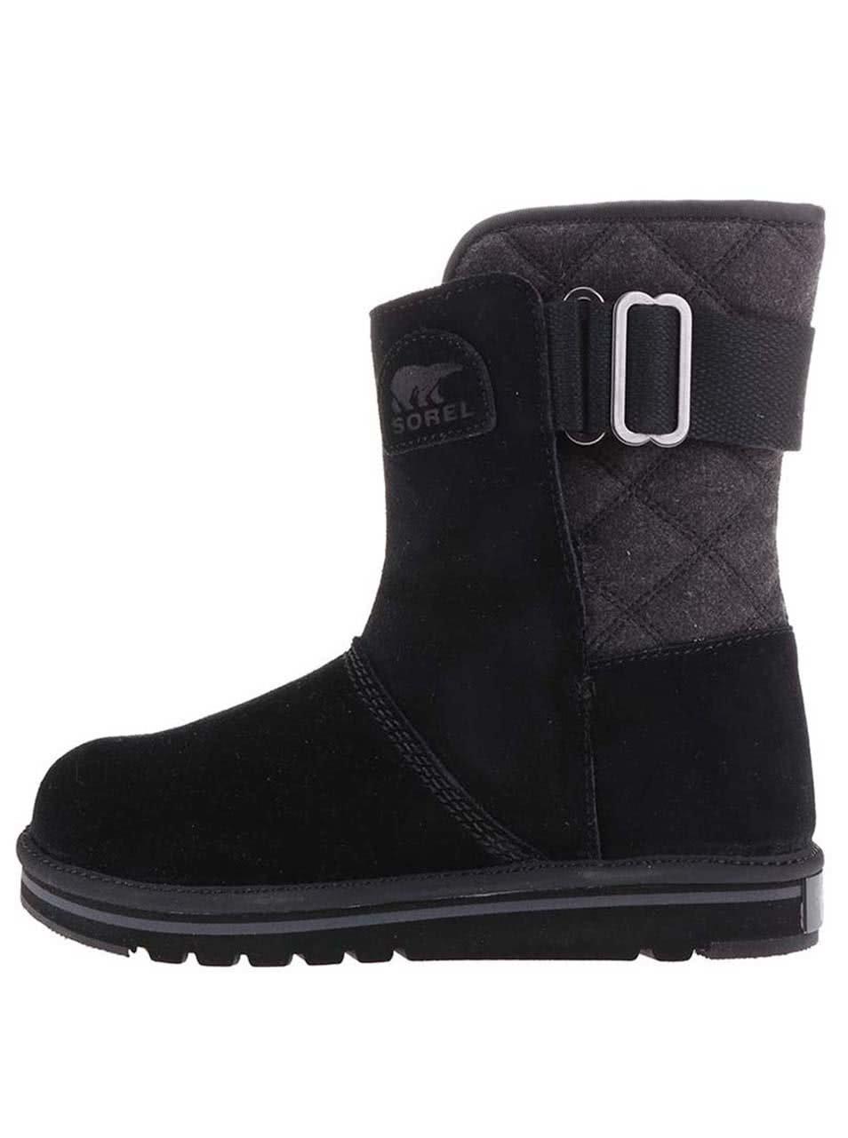 Černé kožené voděodolné zimní boty SOREL The Campus