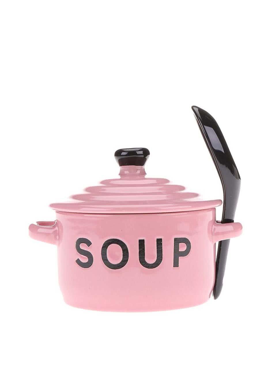 Světle růžová miska na polévku s pokličkou a lžící CGB