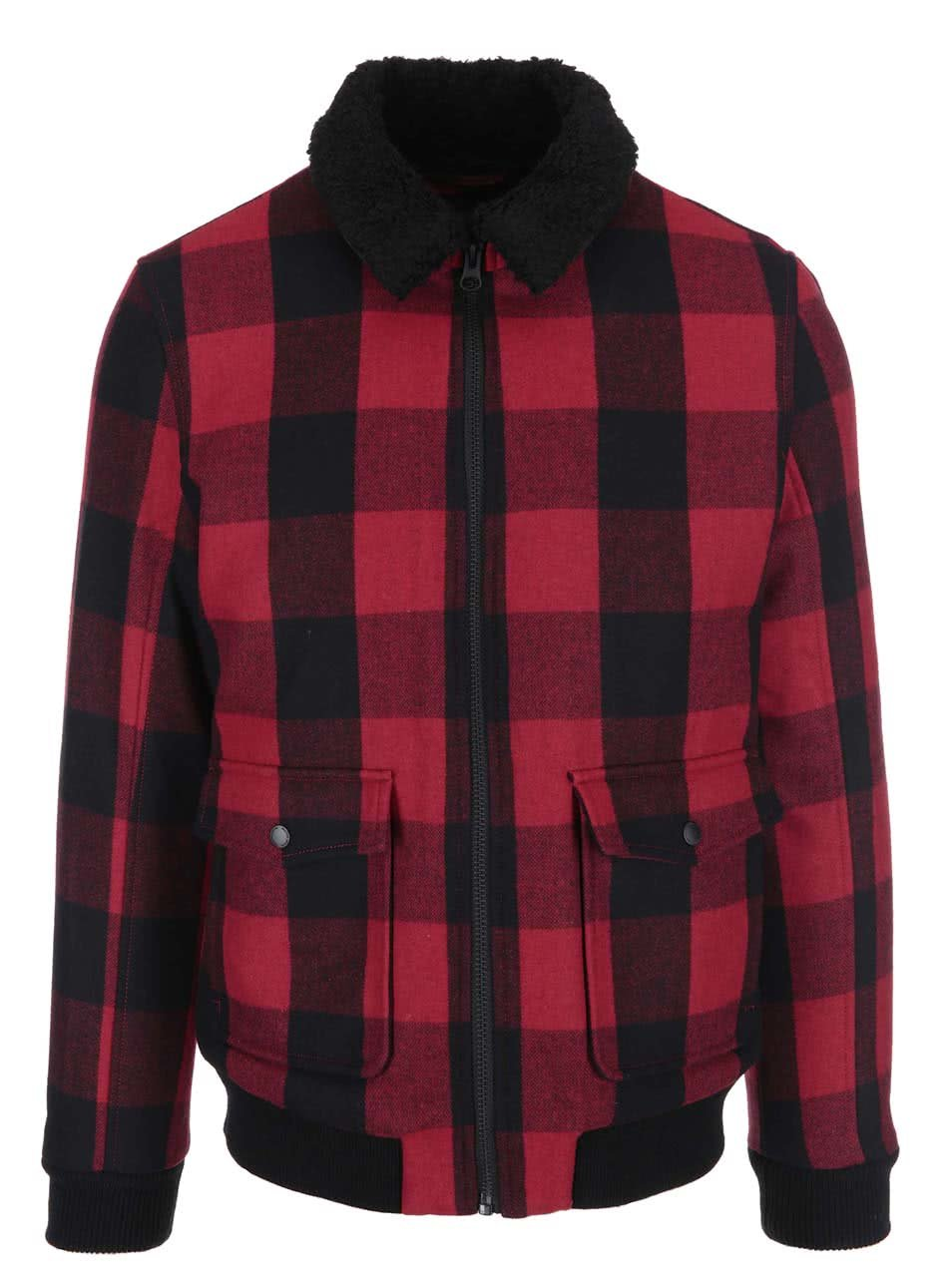 Červeno-černá kostkovaná bunda Selected Homme Teddy