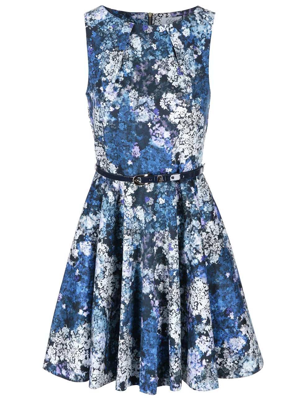 Modré květované šaty s páskem Closet
