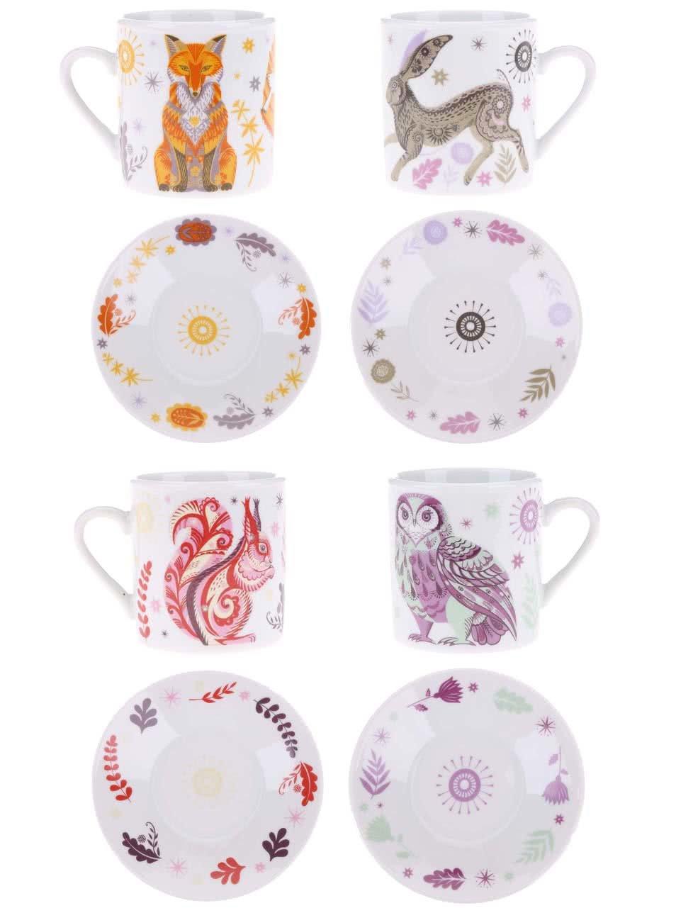 Biela porcelánová súprava štyroch espresso hrnčekov a podšálok s farebným vzorom Magpie