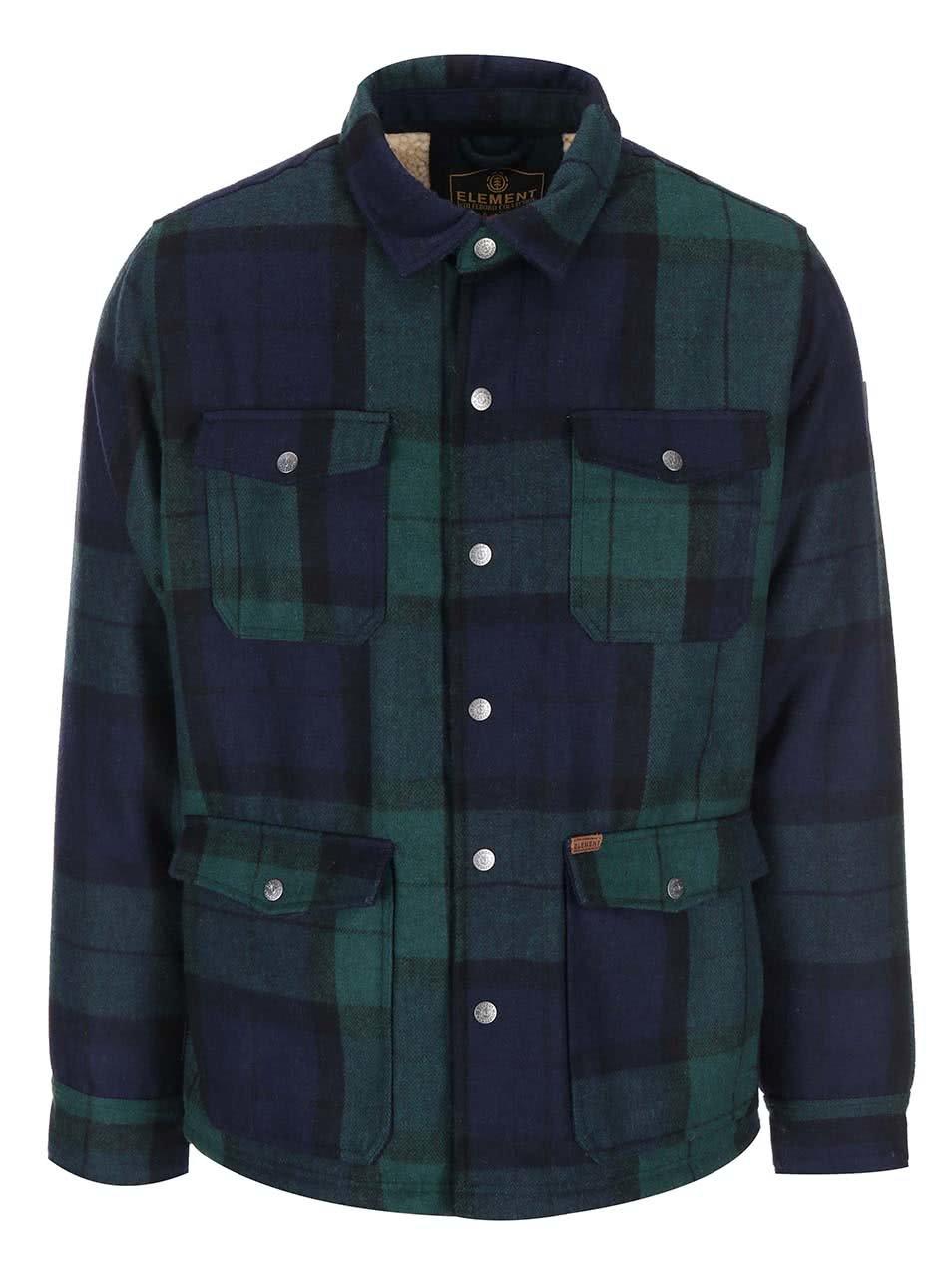 Modro-zelená kostkovaná zimní bunda s kapsami Element Belton