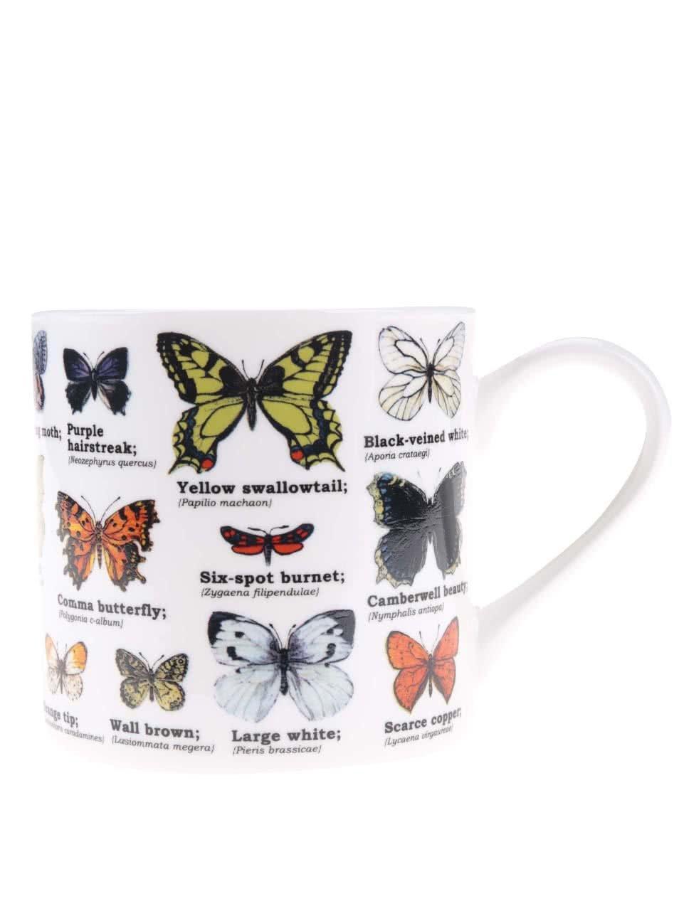 Bílý hrnek s potiskem motýlů Gift Republic