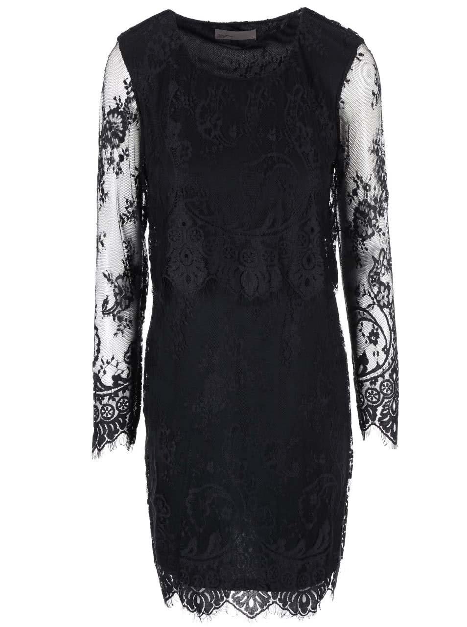 Černé šaty s krajkou Vero Moda Nathalie