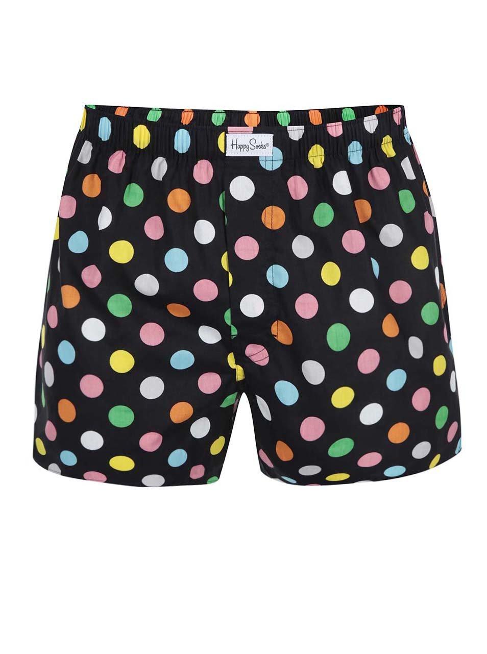Černé pánské trenýrky s barevnými puntíky Happy Socks Big Dots