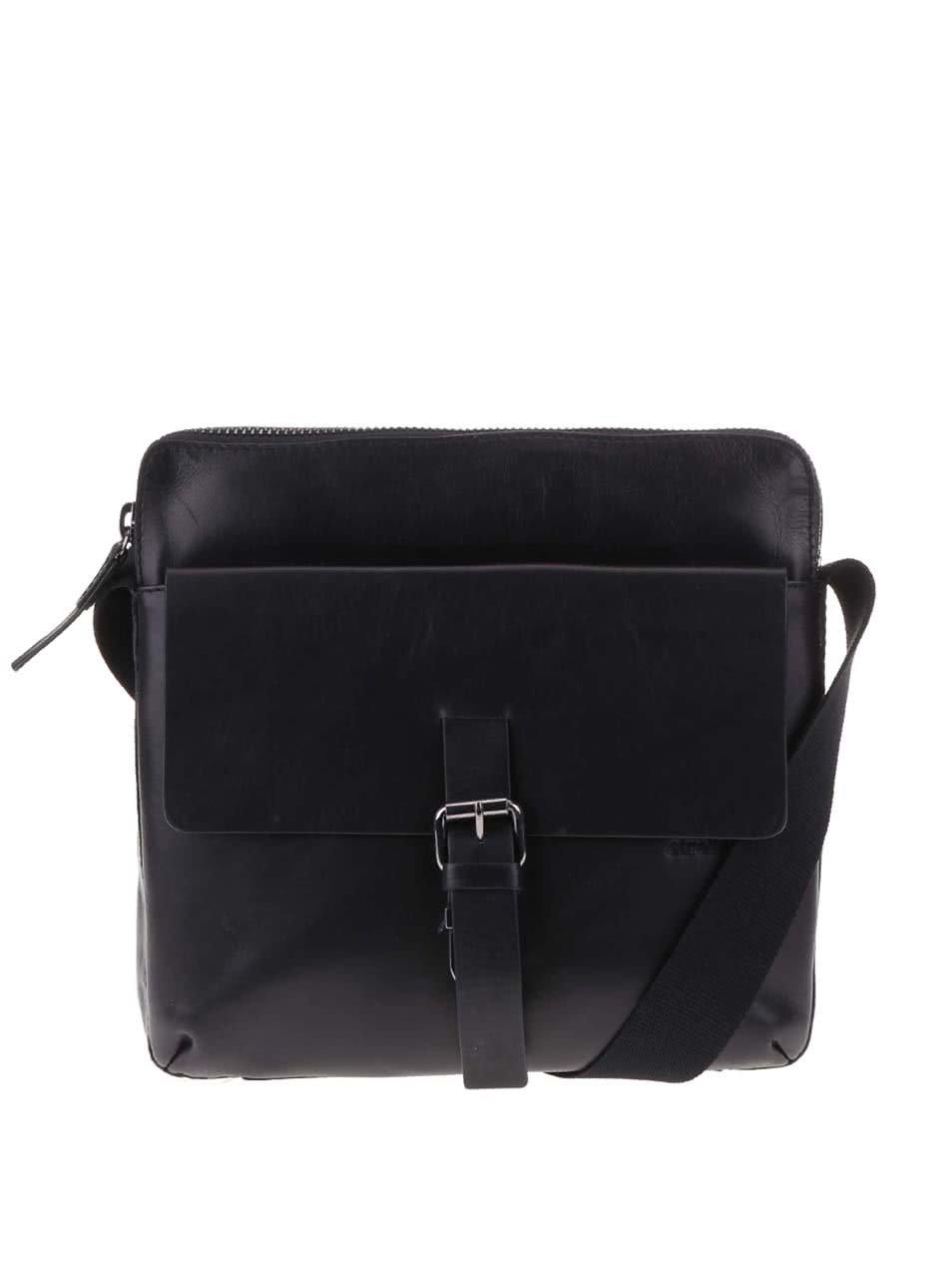 Černá kožená pánská taška přes rameno Strellson Scott