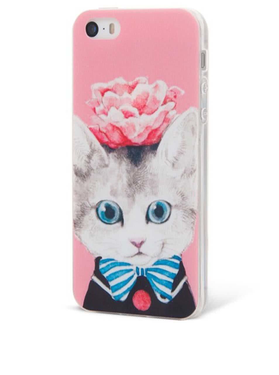 Růžový ochranný kryt na iPhone 5/5s Epico Cat & Roses