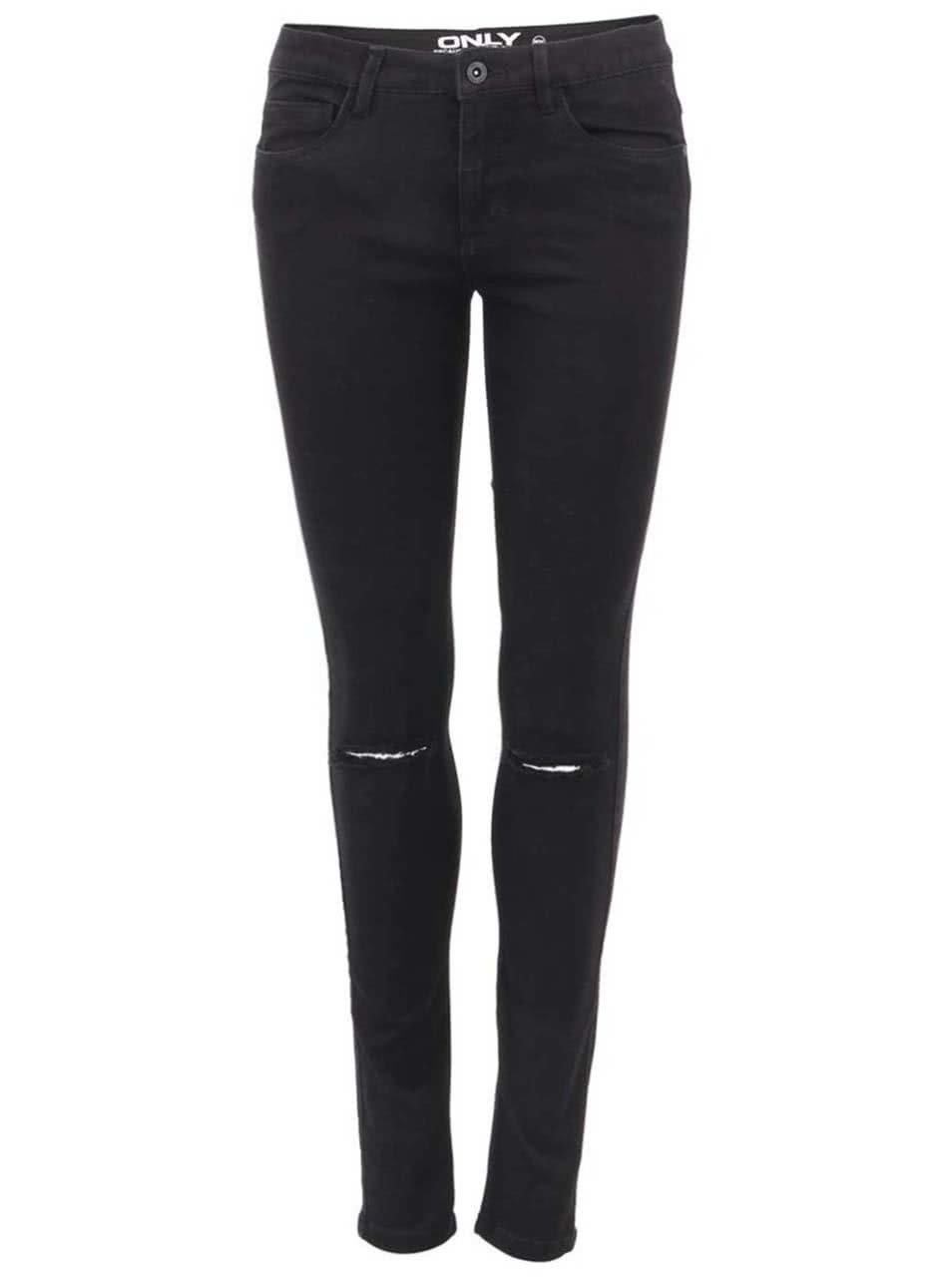 fca29190d9f Černé skinny džíny s dírami na kolenou ONLY Royal Reg