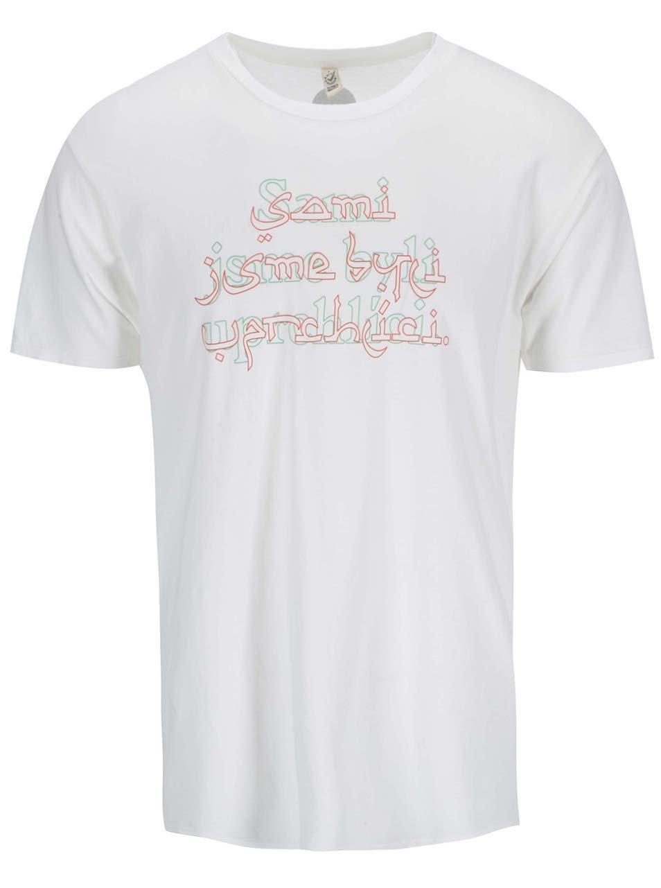 """Fotografie """"Dobré"""" bílé pánské tričko s potiskem pro OPU a UNHCR"""