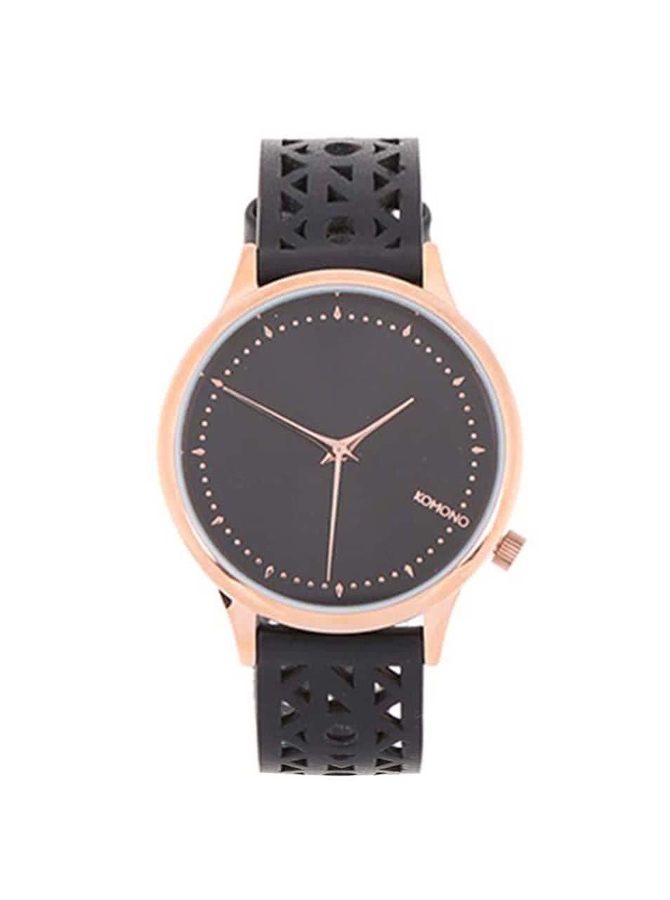 1a873f6ec Čierne dámske hodinky s koženým perforovaným remienom Komono Estelle Cutout