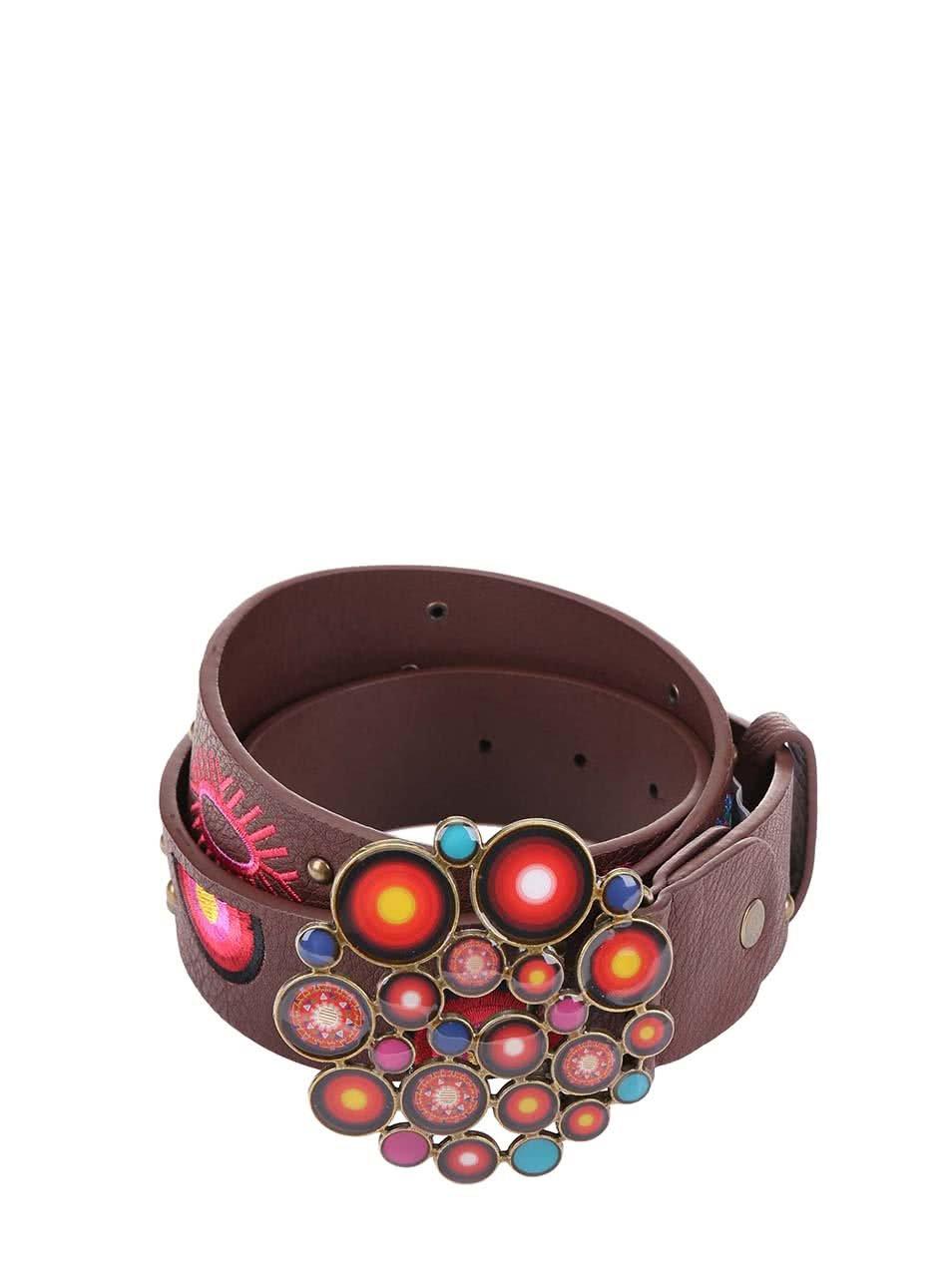 Hnědý pásek s barevnou sponou Desigual Xl Bombai