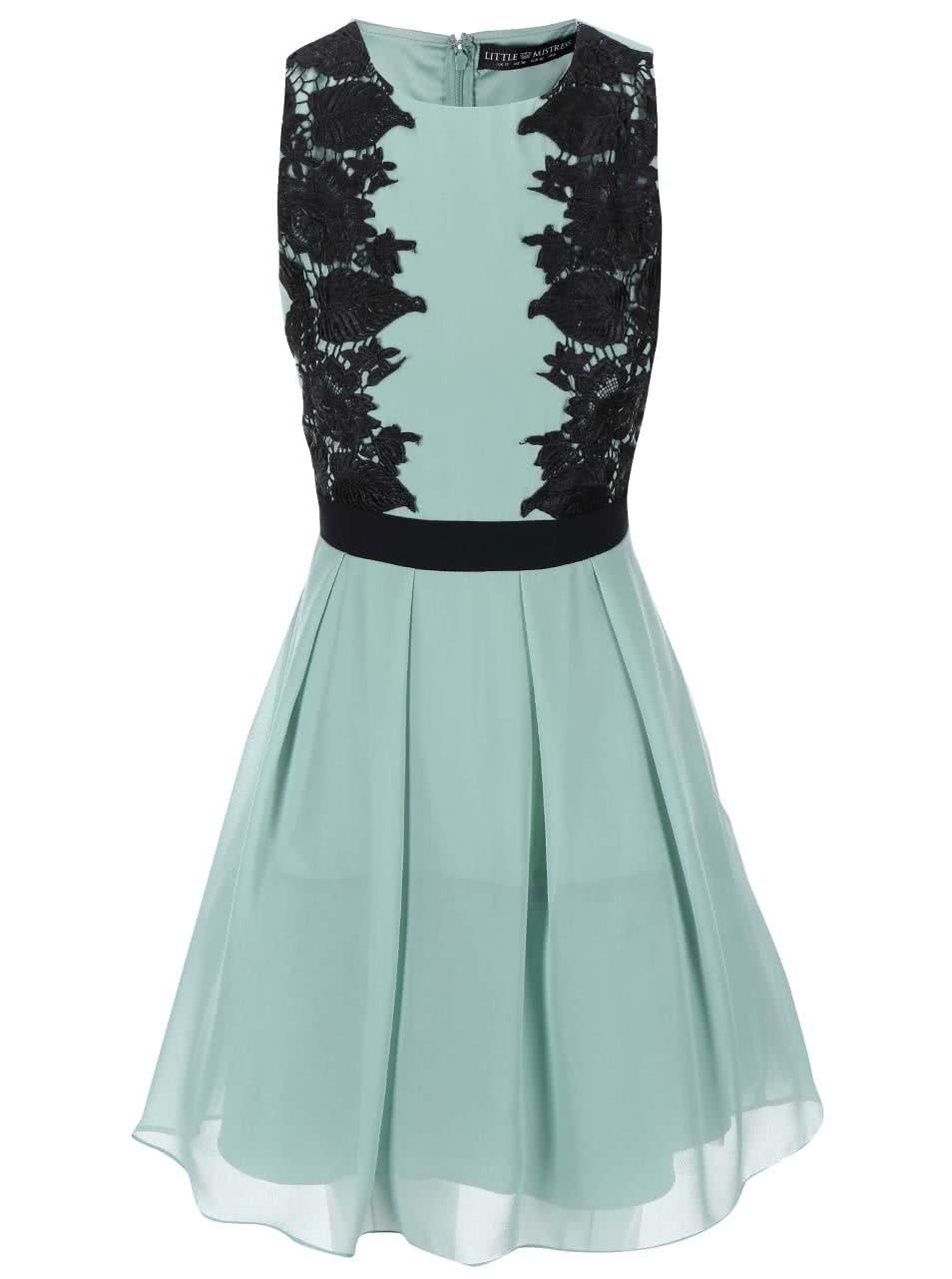 Zelené šaty s černými krajkovanými detaily Little Mistress