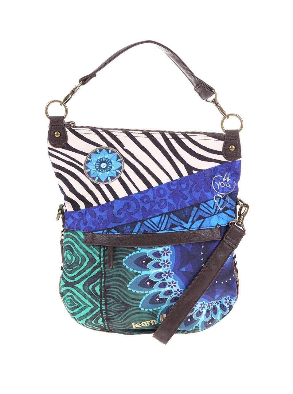 Zeleno-modrá kabelka Desigual Zebra