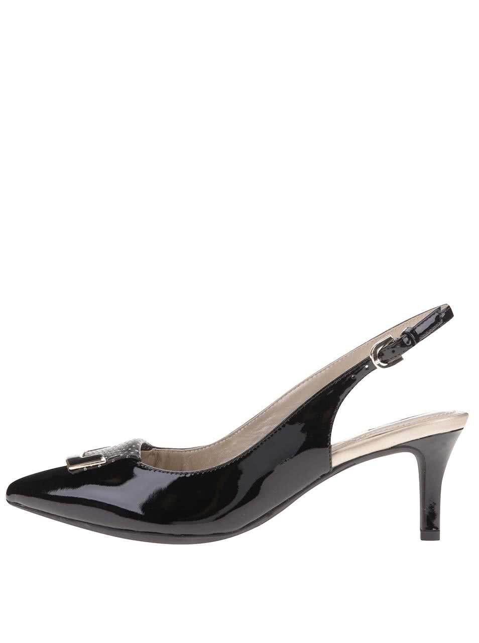 Černé kožené sandálky na podpatku Geox Elina