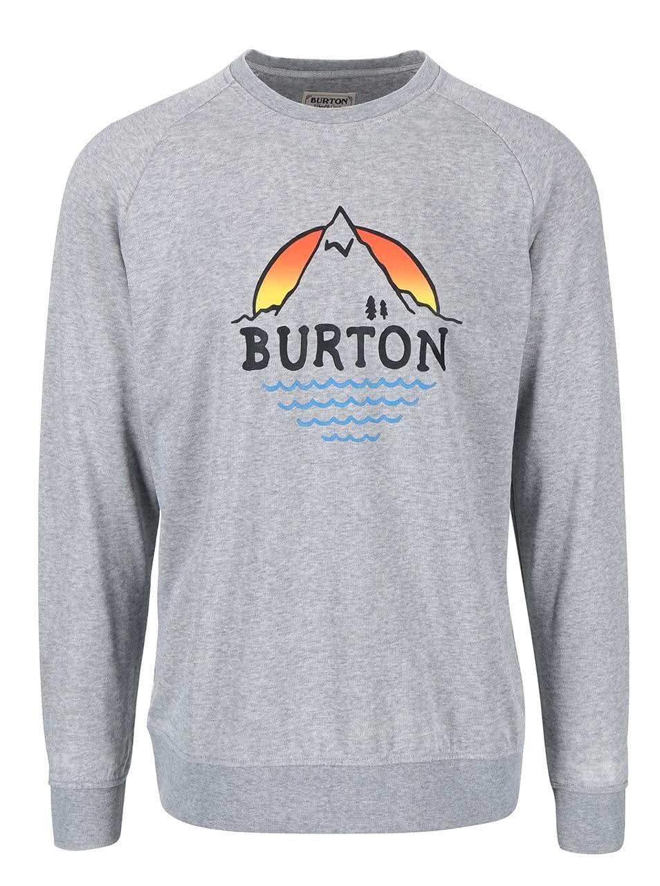 Světle šedá pánská mikina Burton Panorama Crew