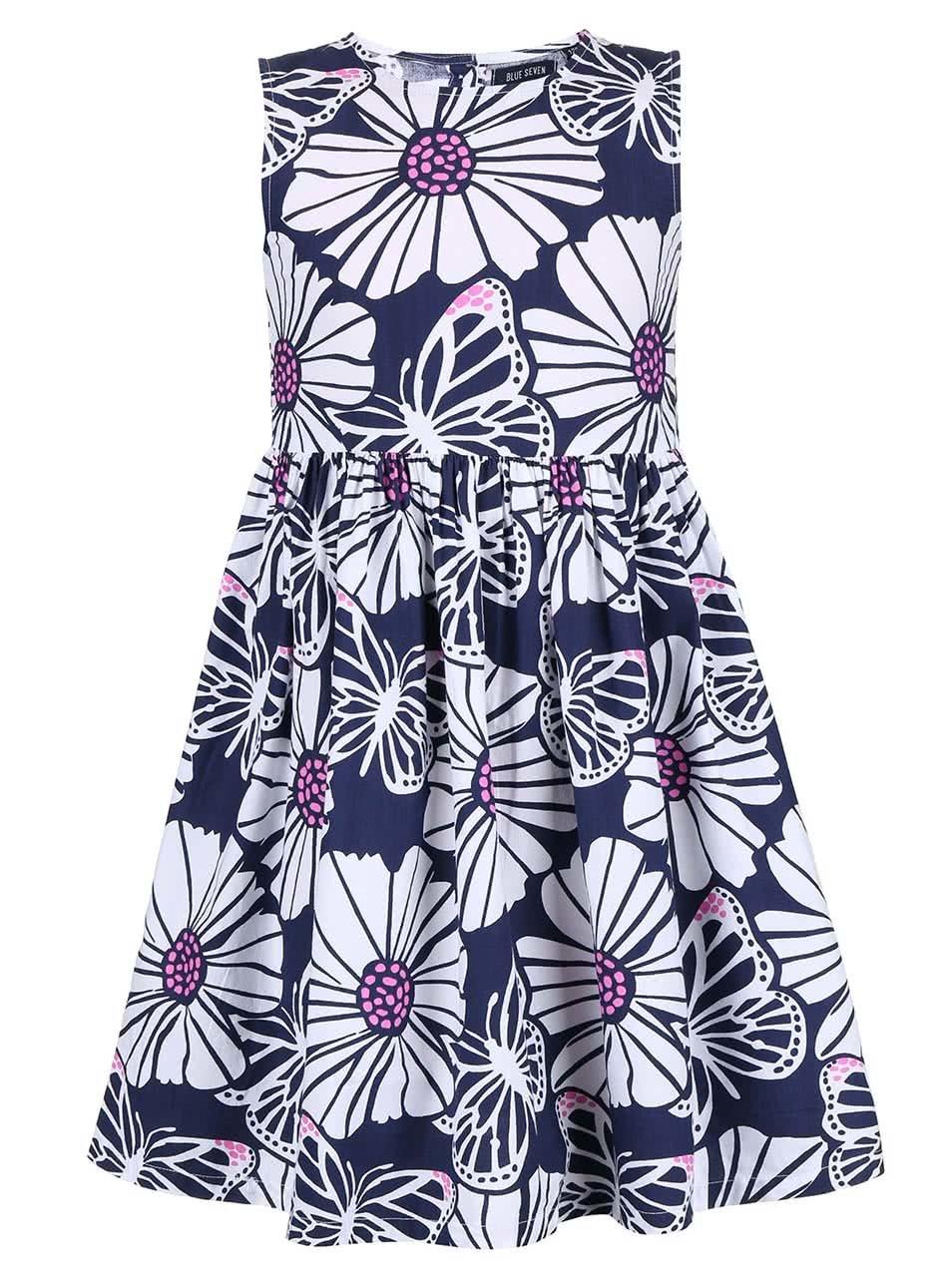 Bílo-modré holčičí šaty s motivem květů Blue Seven