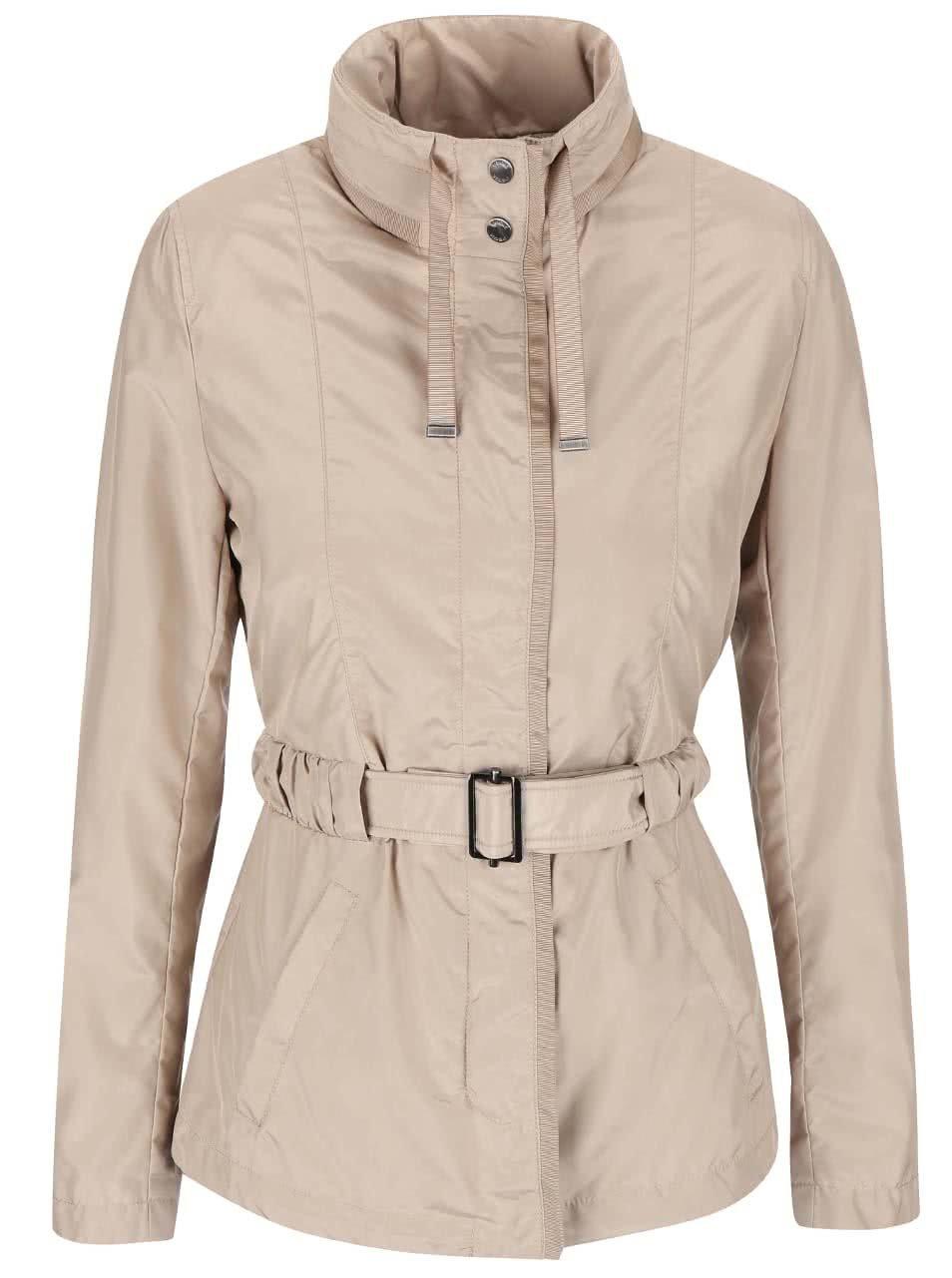 Béžový kabát s páskem Geox