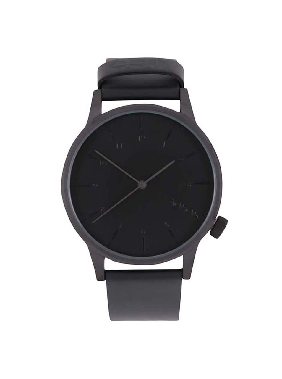 Černé pánské hodinky s koženým páskem Komono Winston Regal