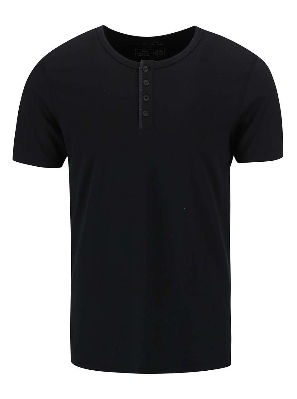 Černé triko s knoflíky Blend