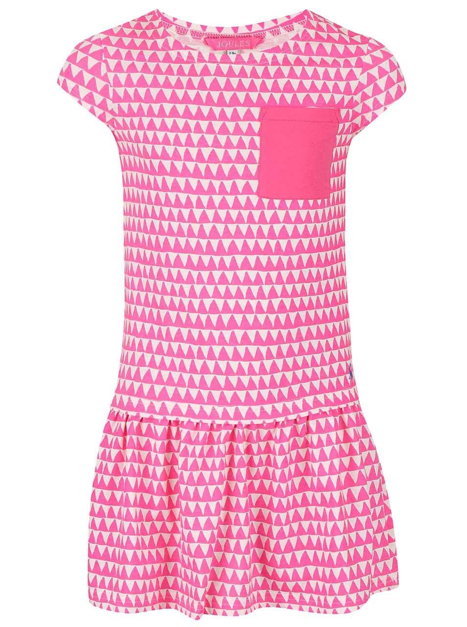 Bílo-růžové holčičí šaty se vzory trojúhelníků Tom Joule