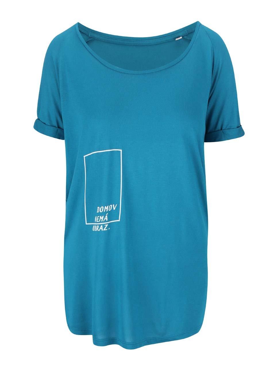 """""""Dobré"""" petrolejové dámské oversize tričko pro Jeden Svět"""