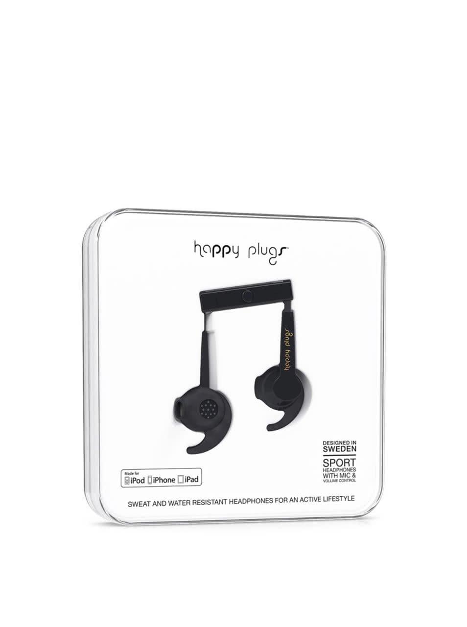 Černá sportovní sluchátka Happy Plugs